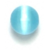 "Cat Eye Beads 6mm Round Aqua Strung 16"" Fibre Optic"